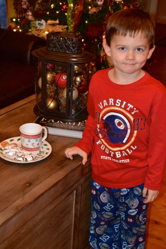 Setting our cookies and milk for Santa