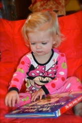 Flipping through her new Christmas book