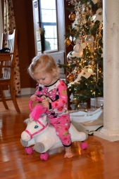 Rolling pony that Cora received.